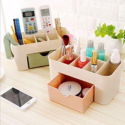 桌面收纳盒塑料磨砂面膜刷置物架梳妆台口红办公桌护肤化妆品盒子【2月29日发完】