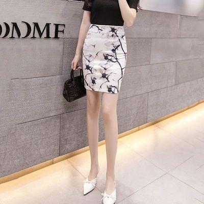 韩版印花高腰半身裙包臀裙新款女装时尚夏短裙显瘦一步裙碎花裙子