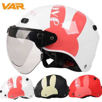 VAR兔子电动摩托车头盔哈雷夏季防晒防紫外线女士可爱卡通安全帽