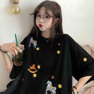 ins短袖女学生韩版潮宽松bf原宿港风t恤2020春夏装新款大码上衣服