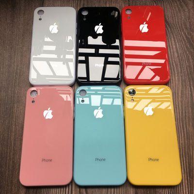 苹果xr手机壳纯色7变8玻璃壳11/xs全包边7P镜面6s保护套黄绿蓝色X