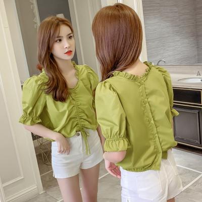 短款泡泡袖上衣女2020新款夏季韩版抽褶系带短袖衬衫显瘦甜美衬衣
