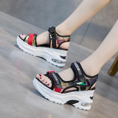 内增高坡跟凉鞋女2020潮鞋夏季新款韩版时尚网红超火厚底运动女鞋