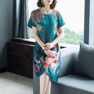 妈妈夏装2020新款中年女士阔太太洋气高贵连衣裙中老年人气质裙子