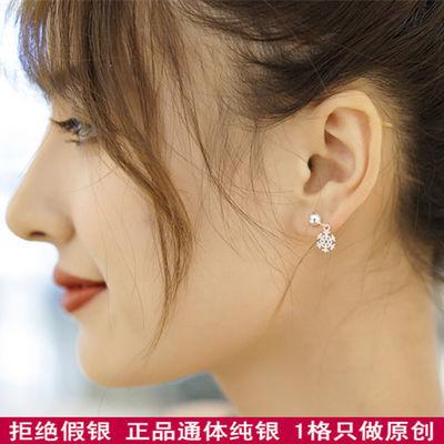 网红雪花耳钉纯银耳环女韩国气质长款耳坠百搭耳环防过敏新款气质