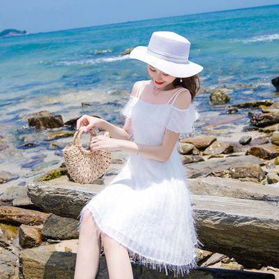 2020夏季新款流行裙子收腰吊带流苏一字肩雪纺连衣裙仙女超仙甜美