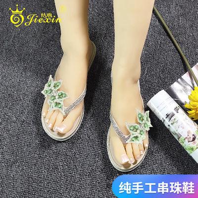 凉拖鞋女外穿新款纯手工串珠花朵时尚韩版百搭人字拖学生平底凉拖