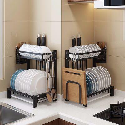 台式免打孔碗碟架 不锈钢沥水架 厨房晾碗架盘子架收纳置物架刀架