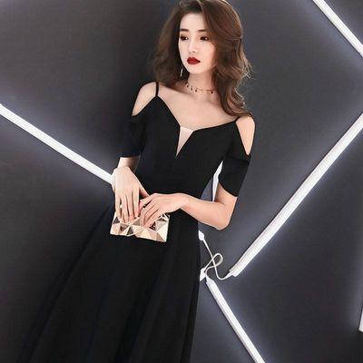 黑色晚礼服女2020新款时尚宴会高贵气场女王派对小礼服性感中长款