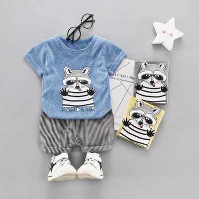 【爆款两件套】男女宝宝夏装短袖衬衫套装0-5岁婴幼儿童夏天衣服