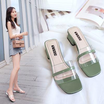 拖鞋女夏季新款外穿中跟粗跟女士凉拖鞋韩版百搭网红沙滩鞋一字拖