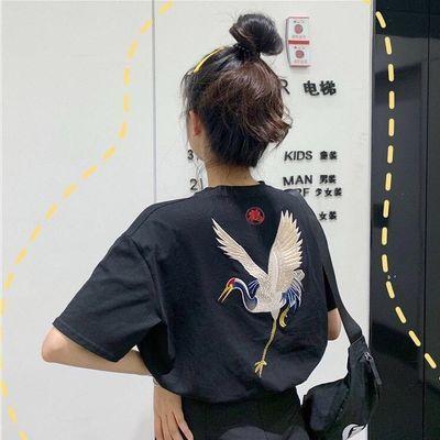 网红同款原宿BF风宽松仙鹤绣花短袖T恤女韩版夏季学生半袖ins上衣
