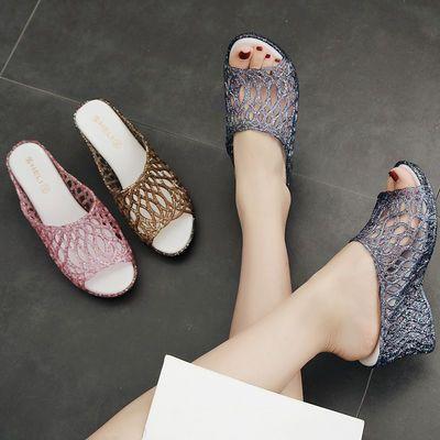 坡跟凉拖鞋女夏时尚外穿鱼嘴高跟厚底一字拖鞋女塑料水晶凉拖女鞋