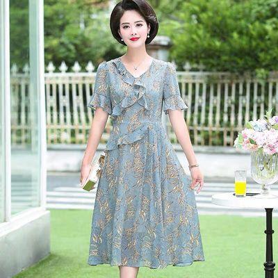 2020新款妈妈夏装连衣裙气质高贵30-40岁女中年夏天过膝洋气裙子