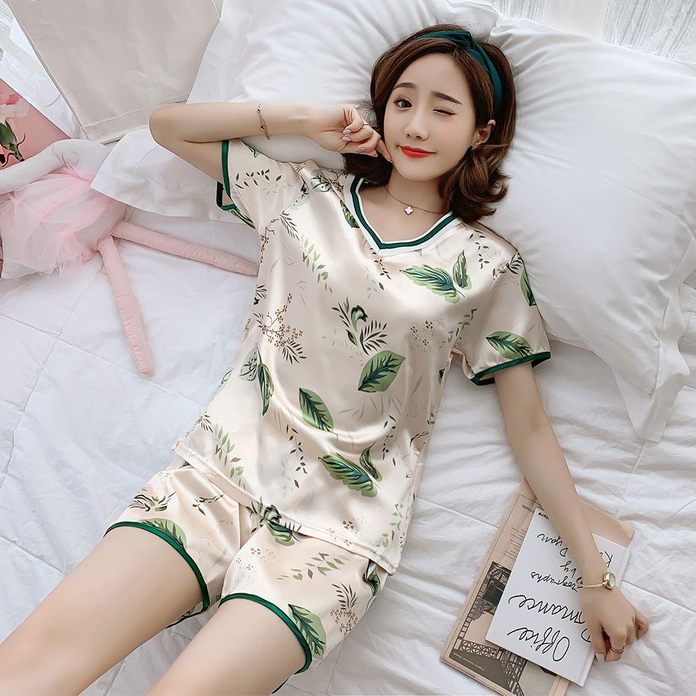 睡衣女夏季冰丝性感短袖女两件套装韩版卡通甜美可爱仿真丝家居服