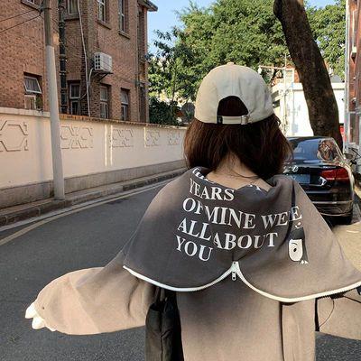 vetiver假两件卫衣女2020秋薄款宽松韩版拉链带帽ins网红外套bf潮
