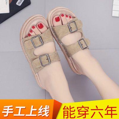 【手工上线】软底拖鞋女夏季外穿韩版松糕厚底一字拖皮带扣凉拖鞋