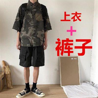 迷彩工装短裤男ins潮牌五分裤港版休闲宽松中裤余文乐短衣套装男