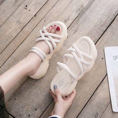 百搭厚底拖鞋女夏外穿学生韩版网红凉拖家用度假沙滩鞋一字拖鞋女
