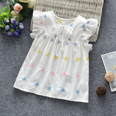 外贸韩版儿童宝宝短袖T恤无袖背心女童飞飞袖上衣夏季新款薄款潮