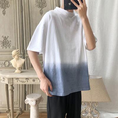 夏季渐变五分袖男士t恤ins潮流韩版宽松中袖短袖T恤衫半袖tee体恤