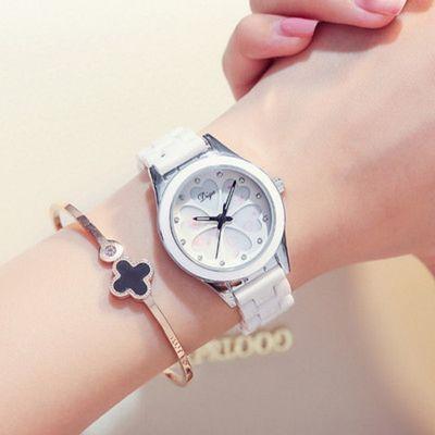新款陶瓷手表女白色镶钻防水石英表韩版时尚简约水钻学生闺蜜女表