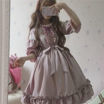 洛丽塔春夏款日系木耳花边大裙摆灯笼袖Lolita蕾丝软妹洋装连衣裙