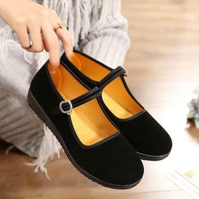女鞋老北京一字带广场舞酒店工作黑一带经典传统布鞋舒适平跟家居