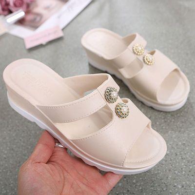 拖鞋女夏外穿韩版时尚带跟厚底增高跟坡跟防滑社会女士凉拖鞋夏季