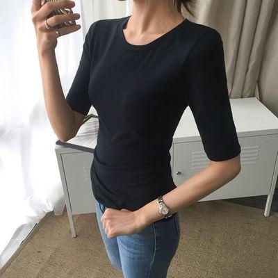 2019新款T恤女半高领中袖紧身黑色五分袖打底衫纯棉上衣韩版修身