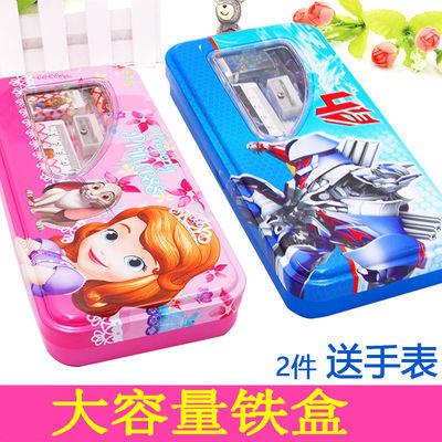 儿童文具盒小学生铁铅笔盒大容量笔袋男童女孩卡通韩版简约文具盒