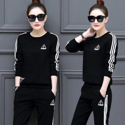 2019新款韩版春秋季运动套装女休闲时尚大码两件套长袖长裤修身潮