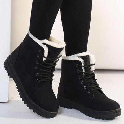 冬季雪地靴女短靴时尚平跟耐磨加厚短筒棉鞋保暖防水防滑大码女鞋