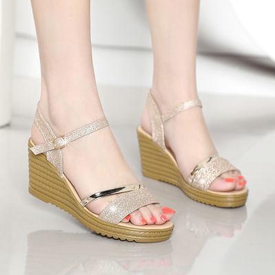 柬倩女鞋坡跟凉鞋女学生平底高跟鞋粗跟韩版防滑鱼嘴鞋子夏天新款