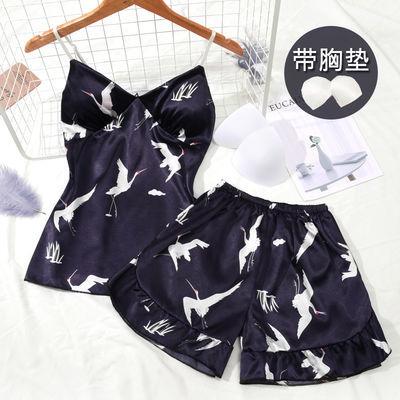 带胸垫冰丝睡衣女夏季吊带背心短裤真丝绸学生家居服性感两件套装