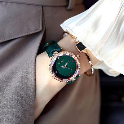 古欧正品女士手表防水时尚百搭手表女学生韩版简约真皮新款石英表