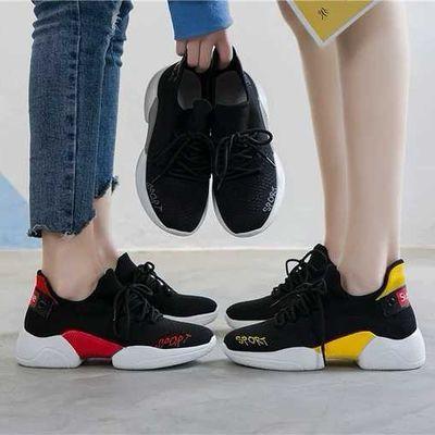 飞织女休闲拼色网面透气针织鞋2020网红新款运动鞋日常不臭脚跑步