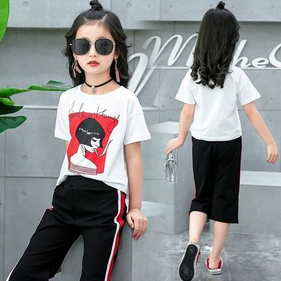 2019韩版女童短袖套装新款夏装中大女童美女头像网红款两件套