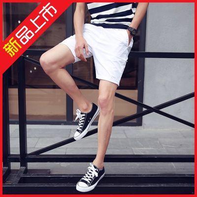 100%纯棉 纯棉休闲短裤男女青年休闲短裤情侣夏季系绳纯色短裤子