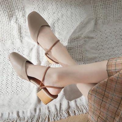 包头凉鞋女夏时尚外穿港味复古chic2019新款百搭半拖鞋两穿凉拖鞋