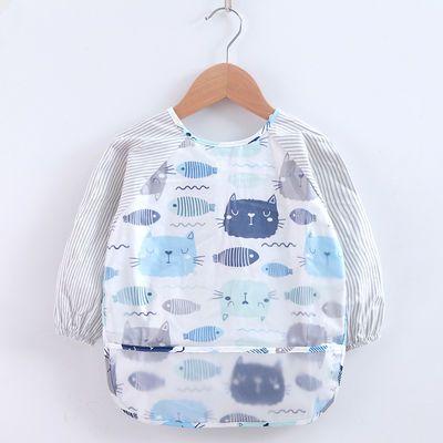 儿童罩衣防水吃饭围兜宝宝饭兜男女童婴儿纯棉长袖围裙护衣反穿衣