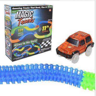74875/220节电动极速夜光轨道玩具车儿童DIY创意益智拼装套装玩具车外贸