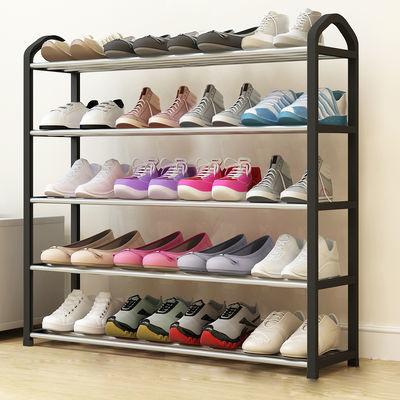 加厚不锈钢鞋架(滑轮)简易家用鞋架子多层收纳鞋柜子宿舍置物架