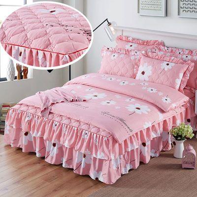 2019新款床裙床上四件套床罩夹棉床单被套被罩结婚三件套床上用品