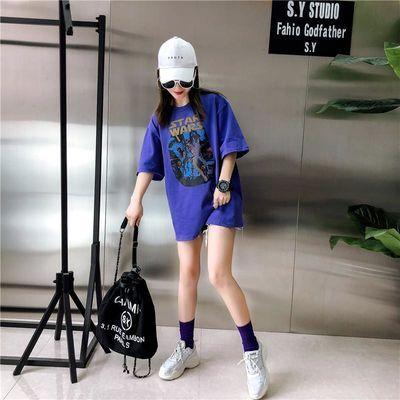 短袖T恤女2020夏装新款韩版百搭棉宽松上衣bf风学生半袖打底衫