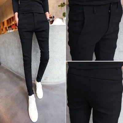 精神社会小伙新款男士休闲小脚裤男显瘦韩版修身型黑色九分裤西裤