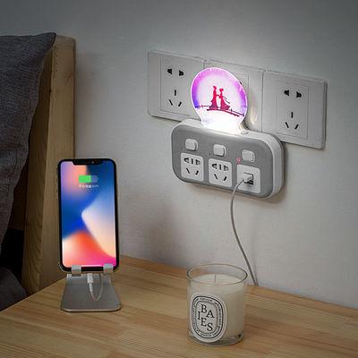 多功能插座转换器自选USB+3D小夜灯插座板多开关插排三脚插头
