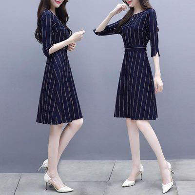 秋装女2018新款韩版修身显瘦a字裙子中长款气质七分袖条纹连衣裙