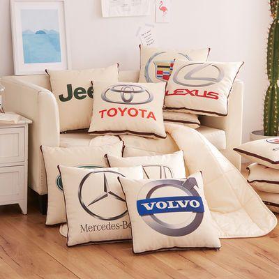 车标抱枕被两用汽车载宝马奔驰奥迪车内折叠空调被子车用抱枕靠枕