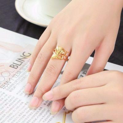 久不掉色新款越南沙金个性戒指女欧币开口镀厚金气质时尚狐狸饰品
